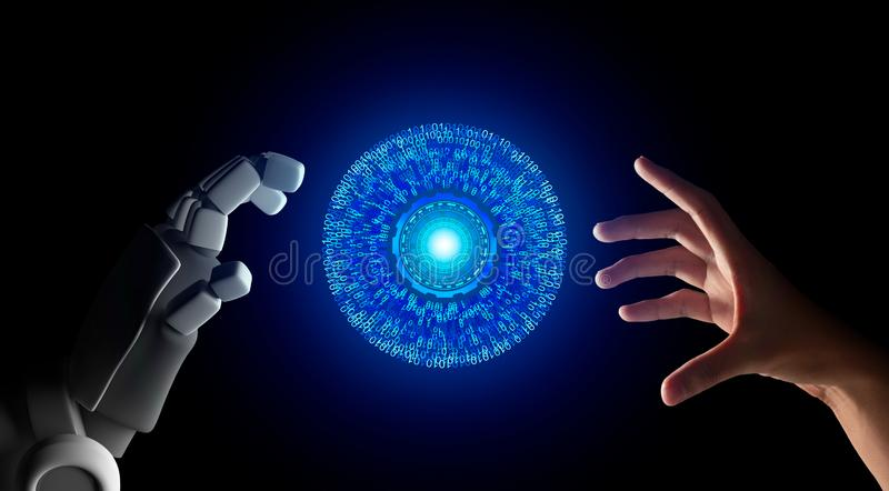 Human hand and robot hand with HUD circle interface and binary number code on black screen background, artificial intelligence, AI vector illustration
