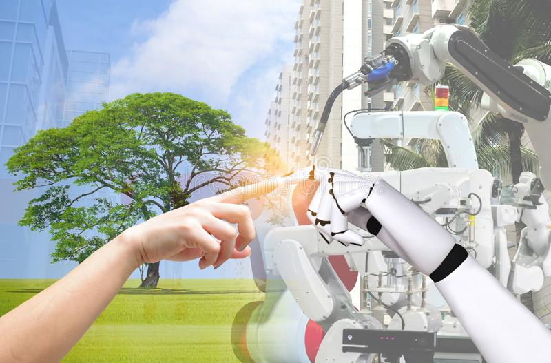 Human hand and robot hand system concept Integration and coordination of intellectual. Technology royalty free stock photo
