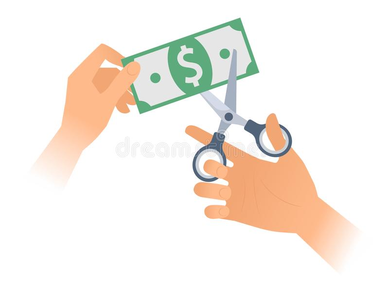 Human hand with scissors cuts up paper american dollar. vector illustration