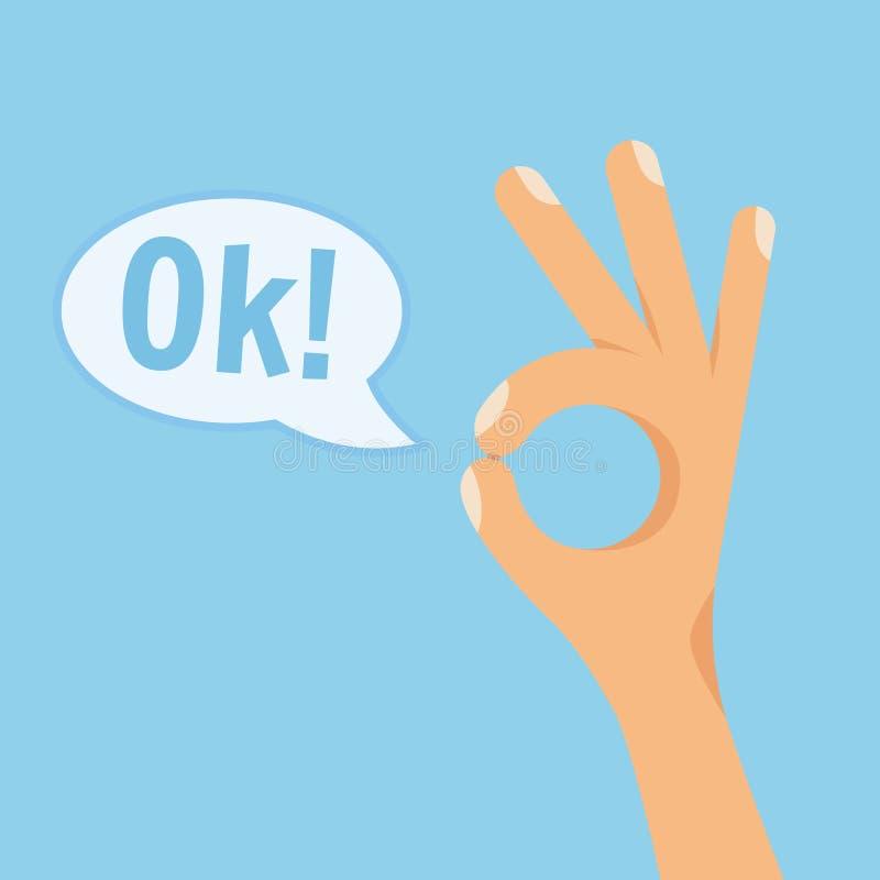 Man Hand Showing OK Sign Flat Style Vector Illustration stock illustration