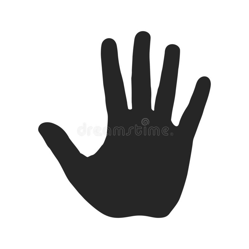 Human hand silhouette. Open palm with five fingers. Stop sign. Warning symbol, hazardous icon vector illustration