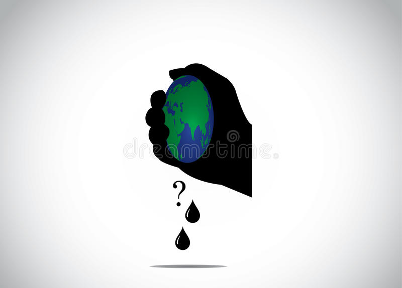 Human hand silhouette squeezing planet earth for fossil fuel stock illustration