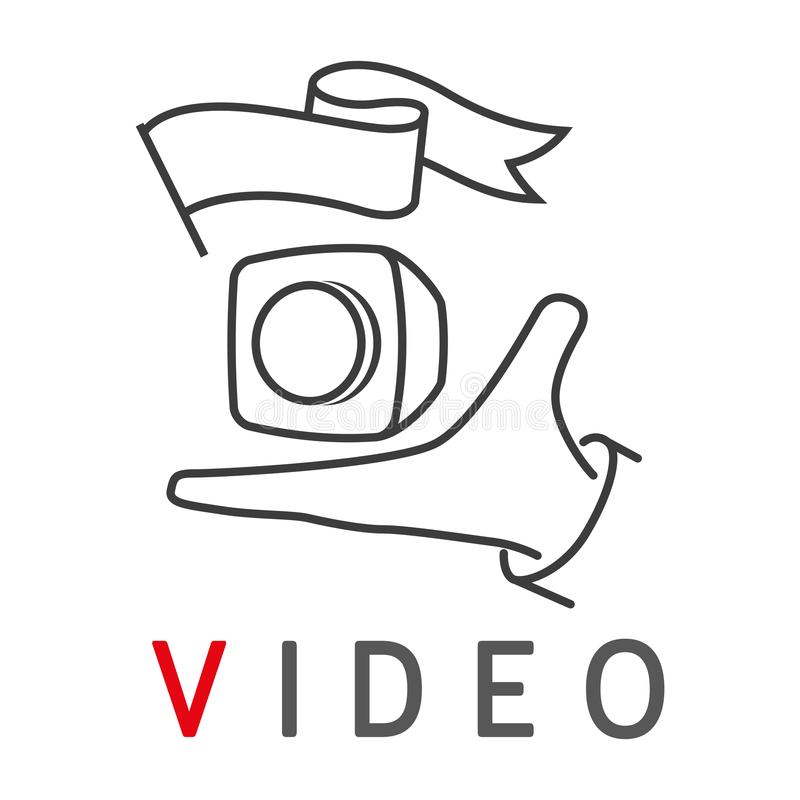 Human hand with small cube action camera. Emblem for logo of video blog or sport action. Simple linear vector vector illustration