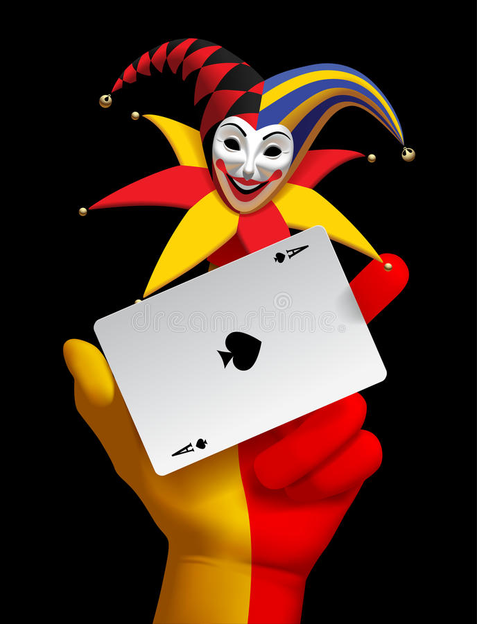 Human hand with a smiled Joker head and ace of Spades playing ca. Rd isolated on the black background. Contains the Clipping Path. There is in addition a vector vector illustration