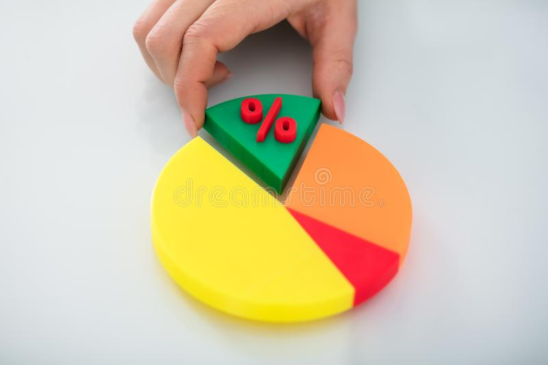 Human Hand Taking Piece Of Pie Chart With Percentage Symbol stock image