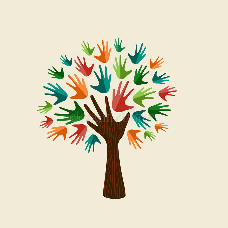 Human hand tree concept for community help stock illustration