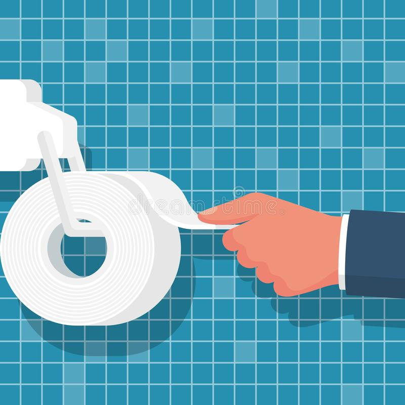 Human hand using toilet paper close-up. Vector illustration flat design. Isolated on tile bathroom background. Toilet paper roll holder in bathroom. Tile of stock illustration