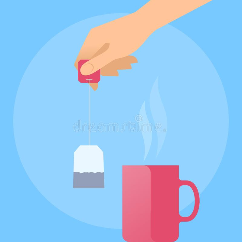 Free Human Hand With Tea Bag And Hot Red Mug. Stock Images - 107960064