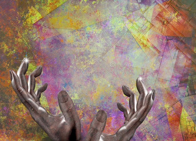 Human hands on abstract backgroung stock illustration