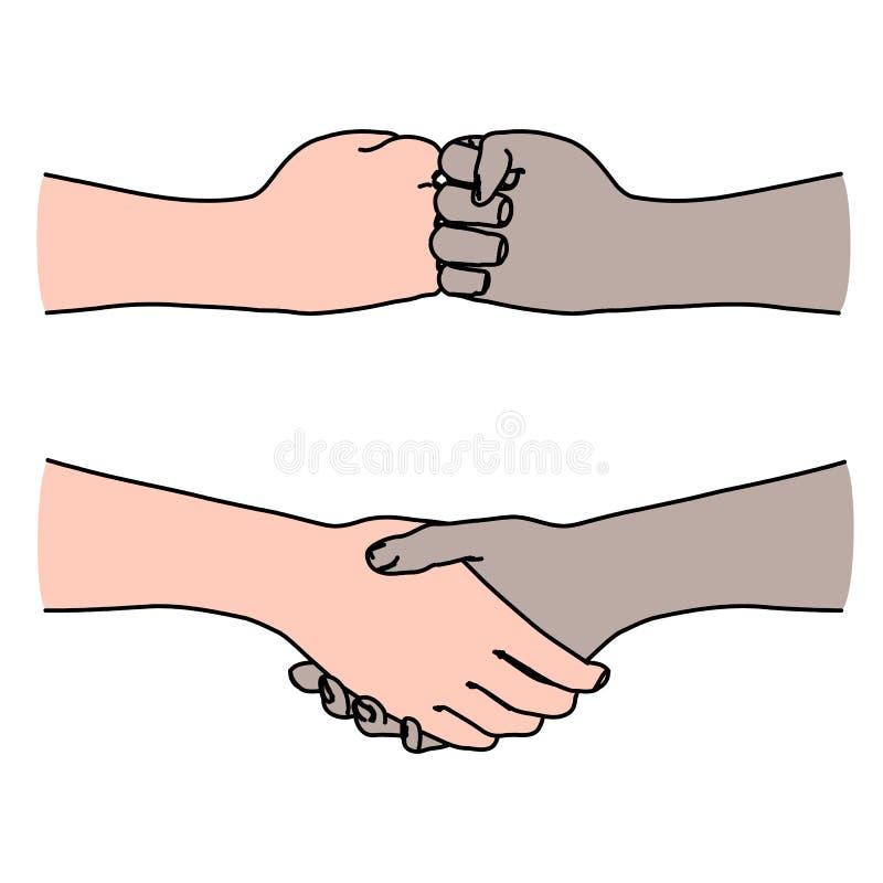 Human hands as handshake illustration of agreement, greeting, friendship royalty free illustration