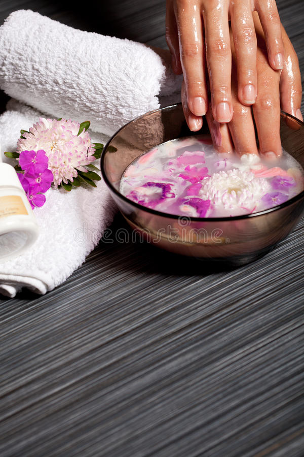 Download Human Hands In Bowl With Oil And Flower Stock Image - Image of hand, manicure: 17710225