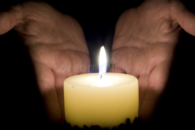 Download Human Hands And Candle Light Stock Image - Image of protection, hope: 7428037
