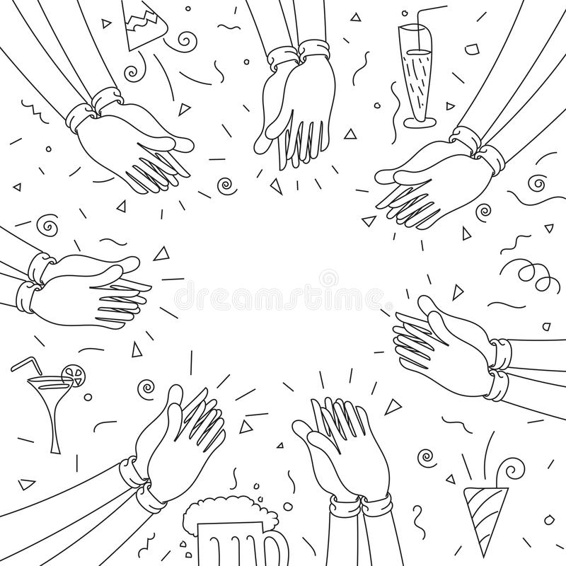 Human hands clapping. happy party royalty free illustration
