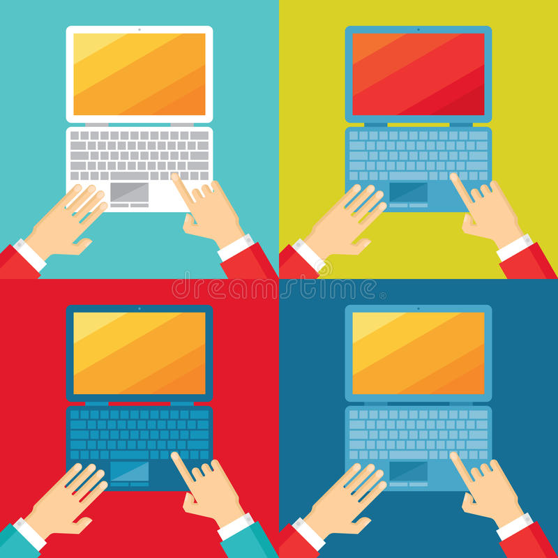 Human hands and computer notebook in flat design style. Different colors. Design elements stock illustration