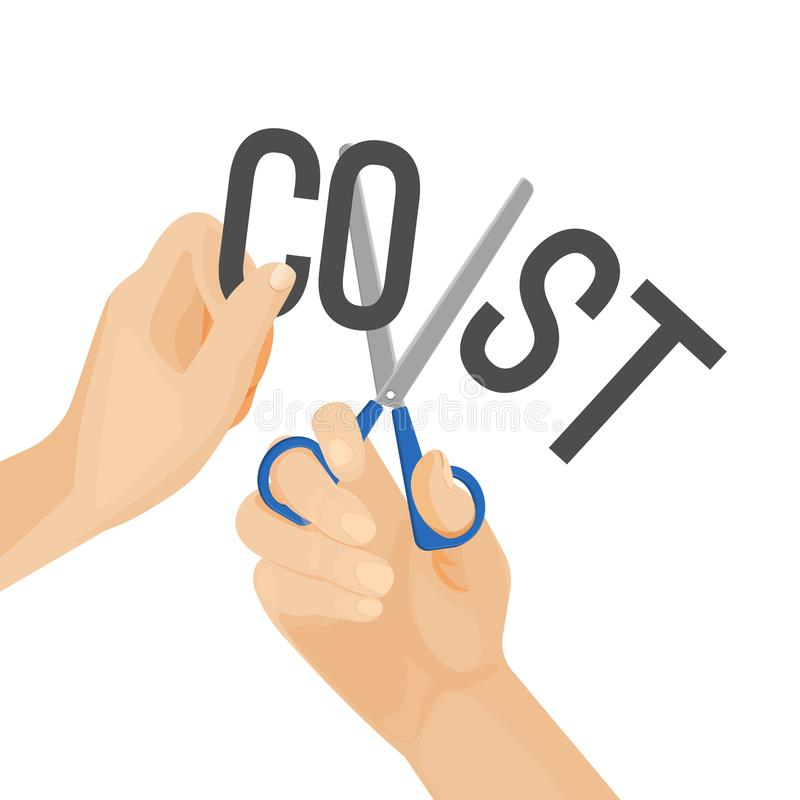 Human hands cutting word cost, concept of reduction budget cuts stock illustration