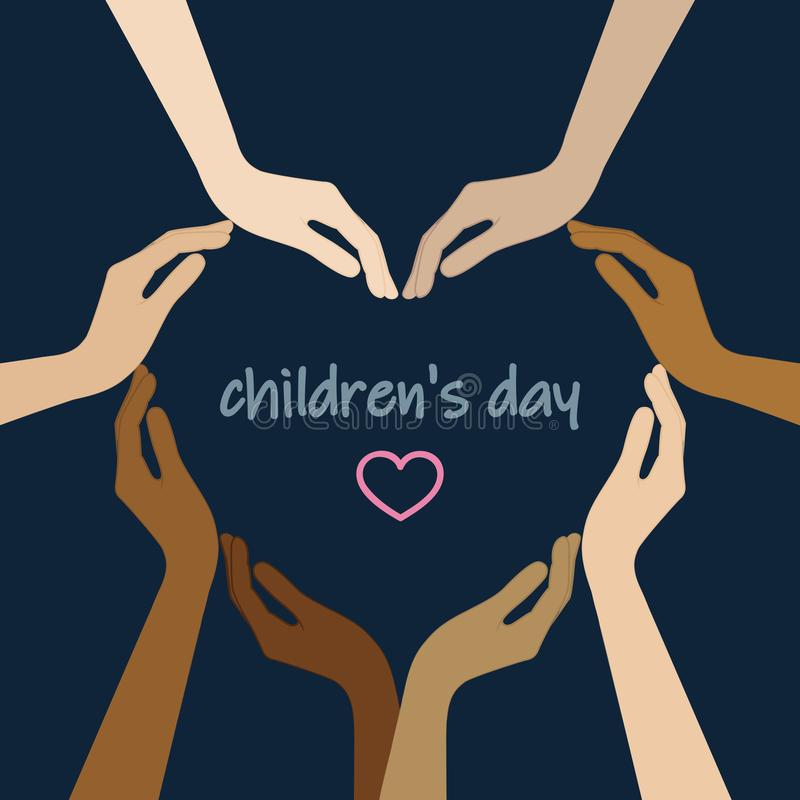 Human hands with different skin colors form a heart for childrens day. Vector illustration EPS10 stock illustration