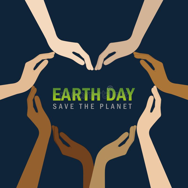Human hands with different skin colors form a heart for earth day. Vector illustration EPS10 royalty free illustration