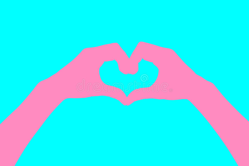 Human hands Heart shaped style abstract pastels. Pink. Blue background.Concept Design Idea Wedding style sweet. royalty free stock image
