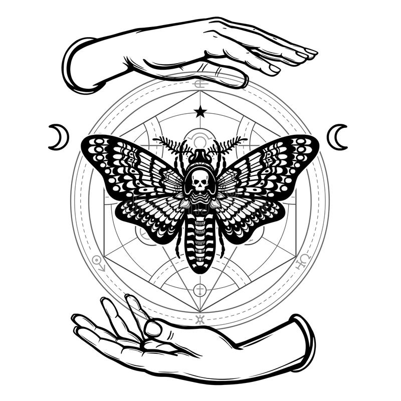 Human Hands Hold A Moth The Dead Head. Alchemical Circle. Symbols Of ...