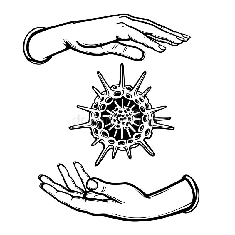 Human Hands Hold A Skeleton Of A Radiolaria. Coloring Book. Stock ...