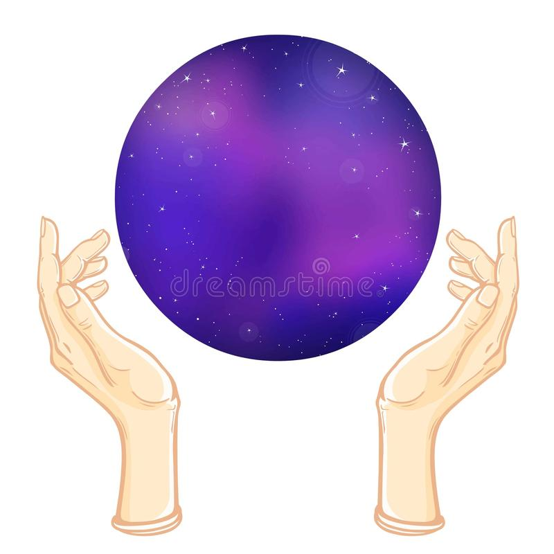 Human hands hold the sphere symbolizing the space. vector illustration