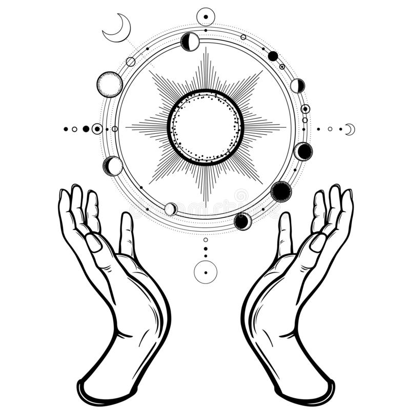Human hands hold a stylized solar system, cosmic symbols, phase of the moon. Magic, alchemy, occult. Monochrome vector illustration isolated on white royalty free illustration