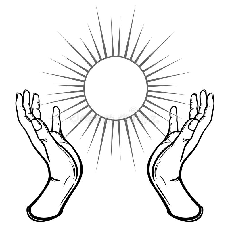 Human hands hold a symbol of the shining sun. vector illustration