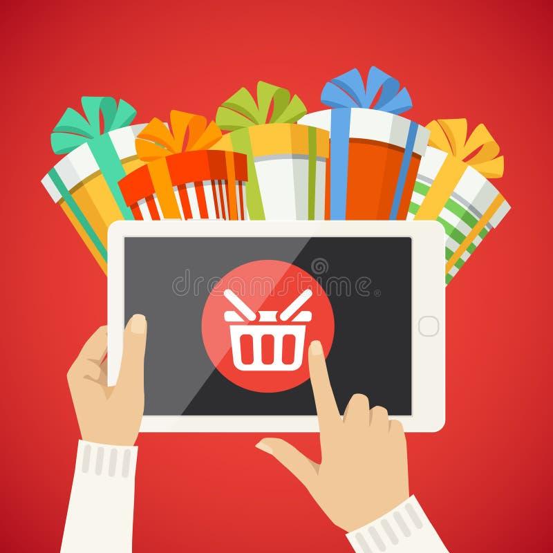 Human hand, smart tablet, shop basket, goods icon royalty free illustration
