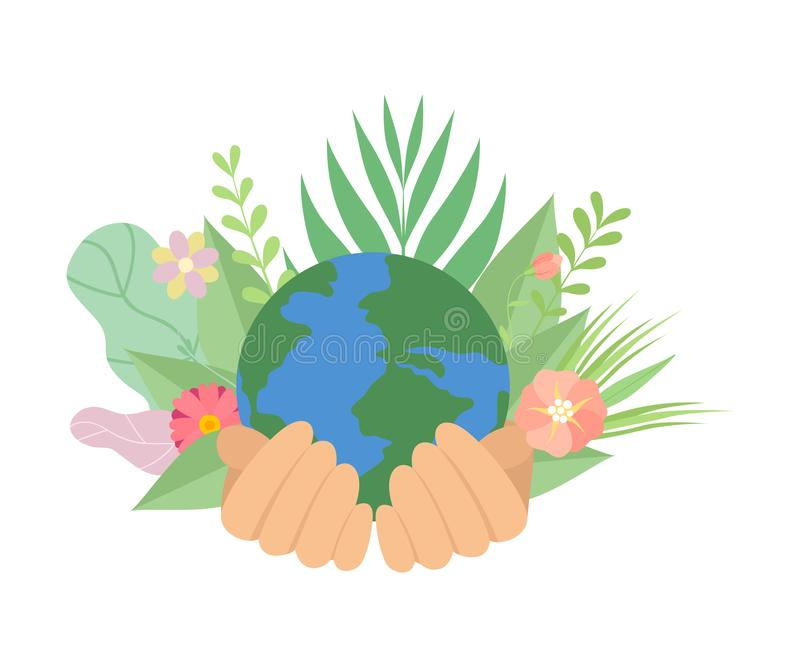 Human Hands Holding Earth Planet, Save the Planet, Environmental Protection, Ecology Concept Vector Illustration vector illustration