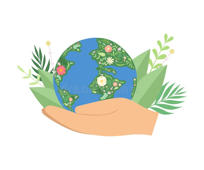 Human Hands Holding Flowering Earth Globe, Save the Planet, Environmental Protection, Ecology Concept Vector stock illustration