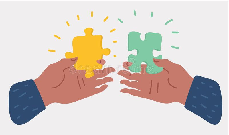 Human hands holding and putting puzzle pieces stock illustration