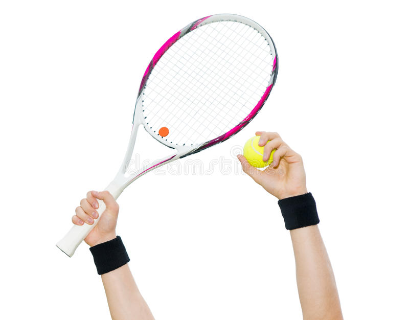 Human hands holding tennis ball and a racket isolated on white b stock photo