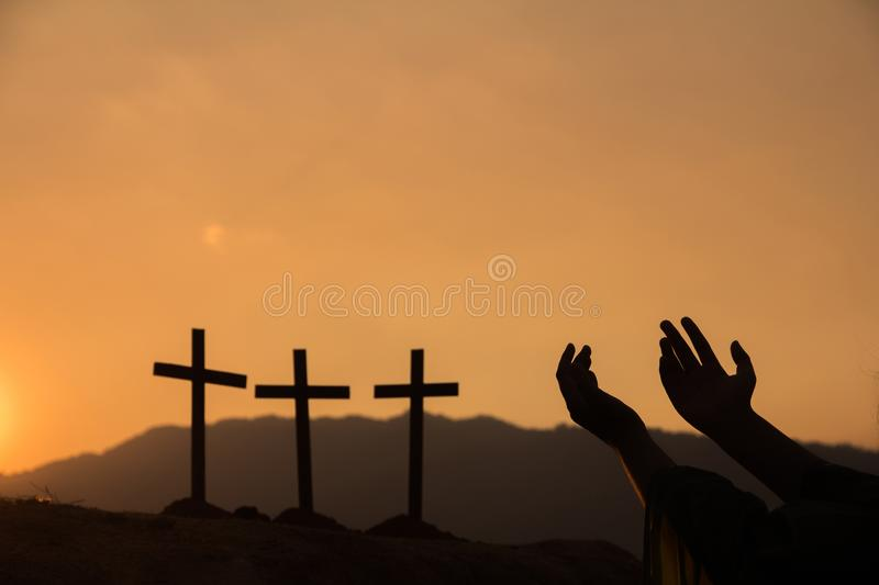 Human hands open palm up worship. stock photography
