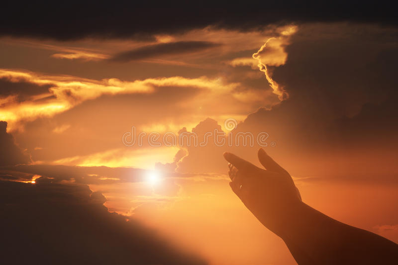 Human hands open palm up worship. Eucharist Therapy Bless God He. Lping Repent Catholic Easter Lent Mind Pray. Christian concept background. fighting and victory stock photo
