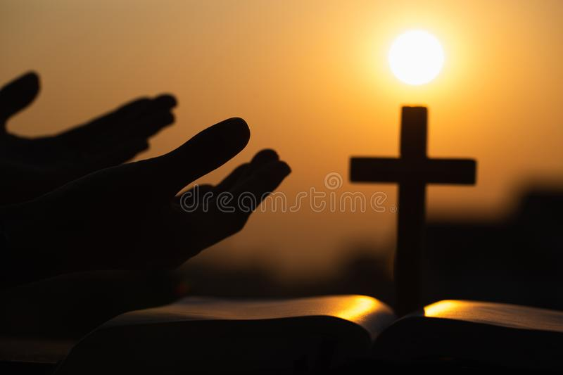 Human hands open palm up worship. Praying to God. Eucharist Therapy Bless God Helping Repent Catholic Easter Lent Mind Pray. Christian Religion concept stock image