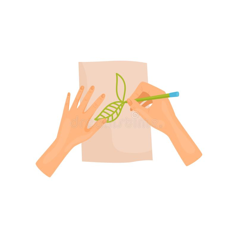 Human hands painting leaves on paper with green pencil. Hobby theme. Flat vector element for poster or flyer of art vector illustration