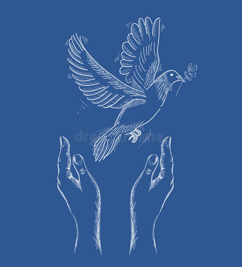 Human hands and peace dove illustration EPS10 file. stock illustration