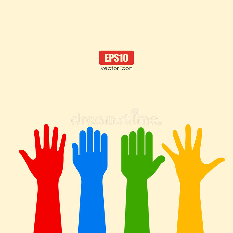 Human hands poster vector illustration