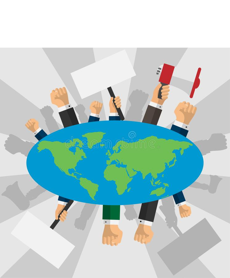 Human hands raised with banners around the earth globe vector illustration