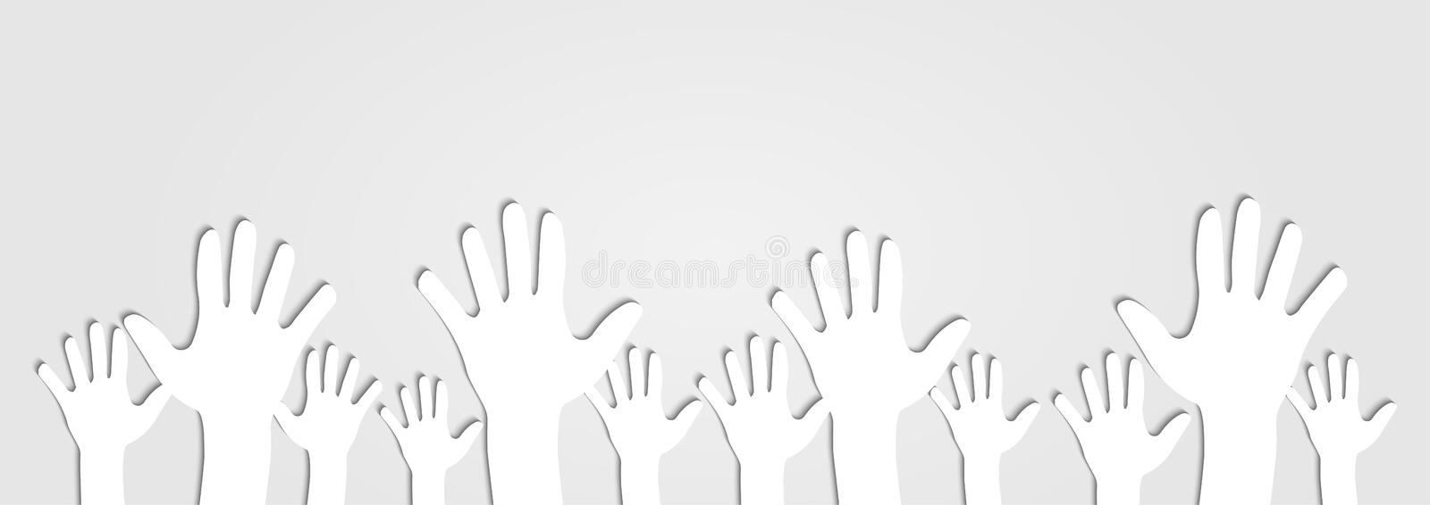 Human Hands Raised Up Cutout on Light Gray Background. Vector stock illustration