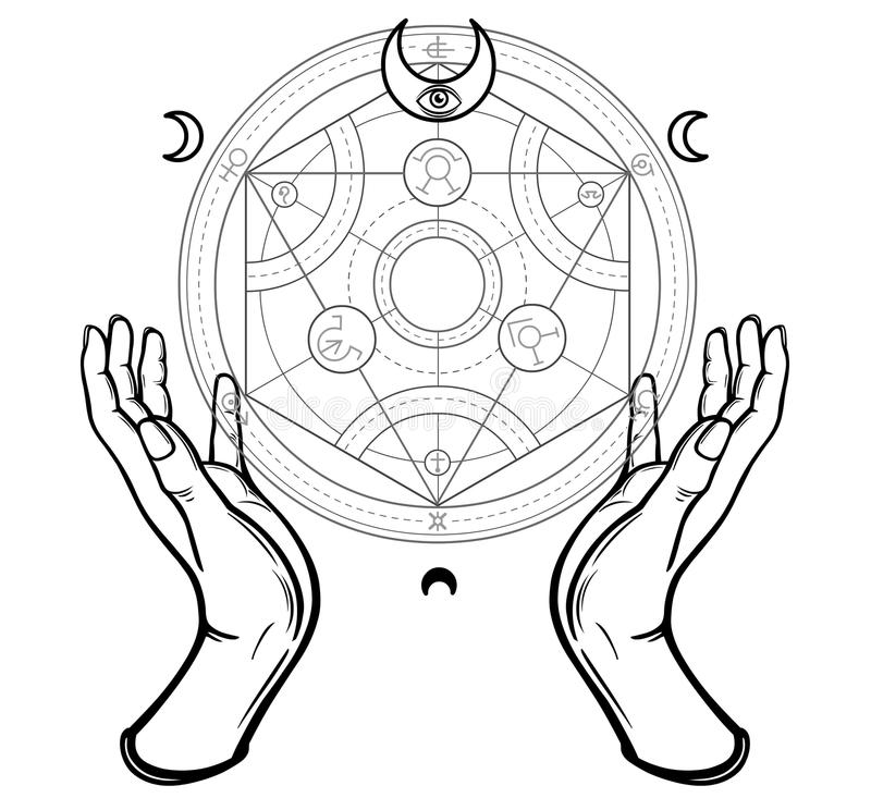 Human hands touch an alchemical circle. Mystical symbols, sacred geometry. royalty free illustration
