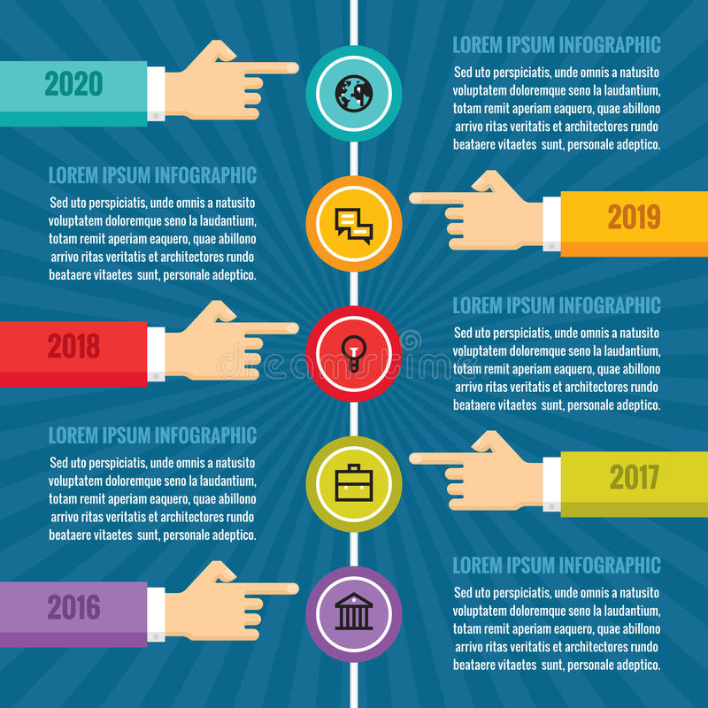 Human hands with vertical timeline - infographic business concept - vector concept illustration. Human hands with vertical timeline - infographic business vector illustration