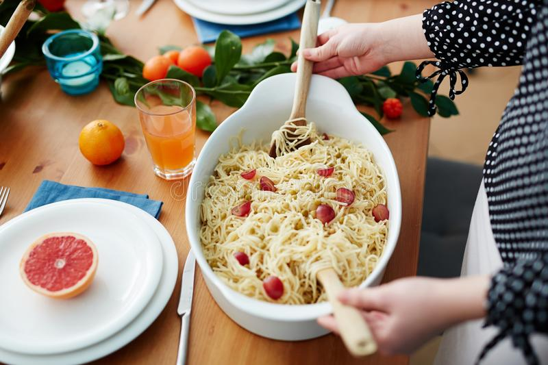 Pasta for guests stock photo