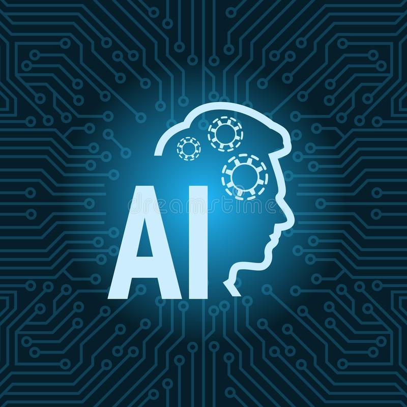 Human Head Artificial Intelligence Icon Over Blue Circuit Motherboard Background. Vector Illustration vector illustration