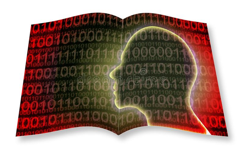 Human head with binary code on background - 3D render concept image - I`m the copyright owner of the images used in this 3D rende stock image