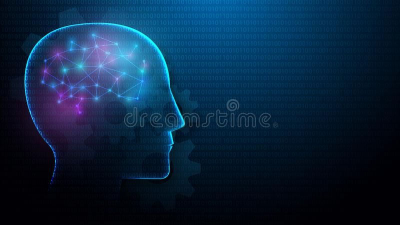 Human head and brain with Artificial intelligence concept from lines, triangles and particle style design vector illustration