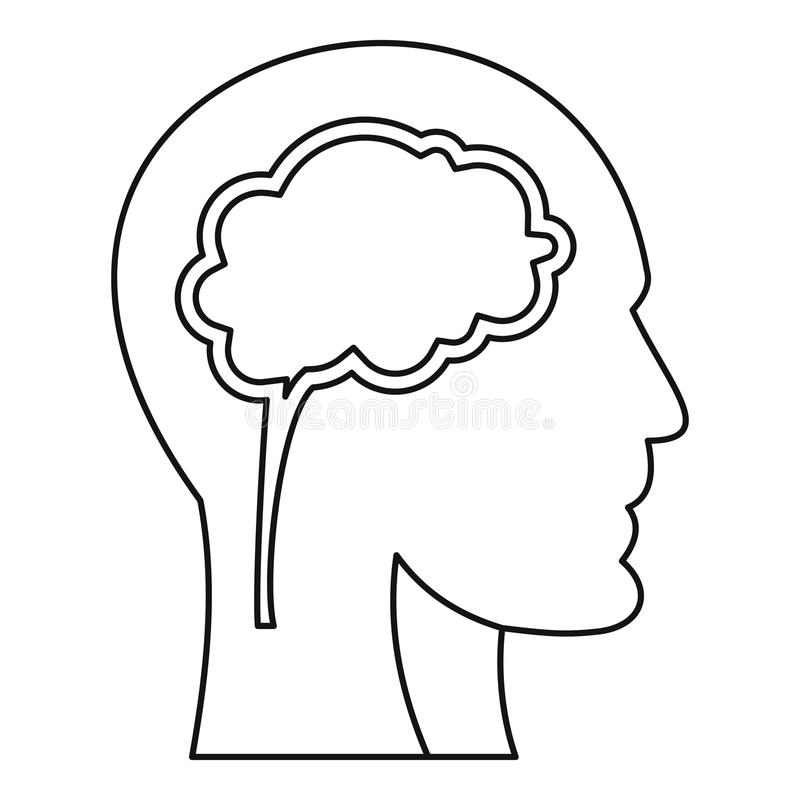 Human head with brain icon, outline style. Human head with brain icon. Outline illustration of human head with brain vector icon for web vector illustration
