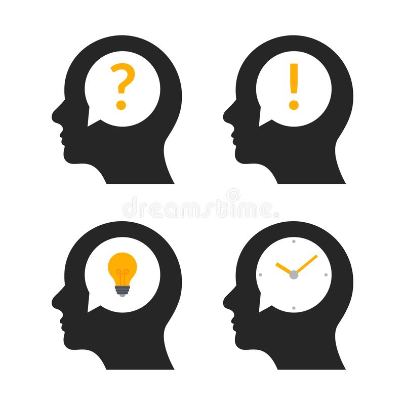 Human head brain idea profile. Person business question people mind creative illustration icon stock illustration