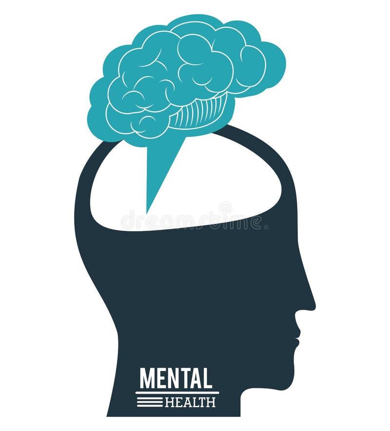 Human head brain, mental health progress innovation design stock illustration