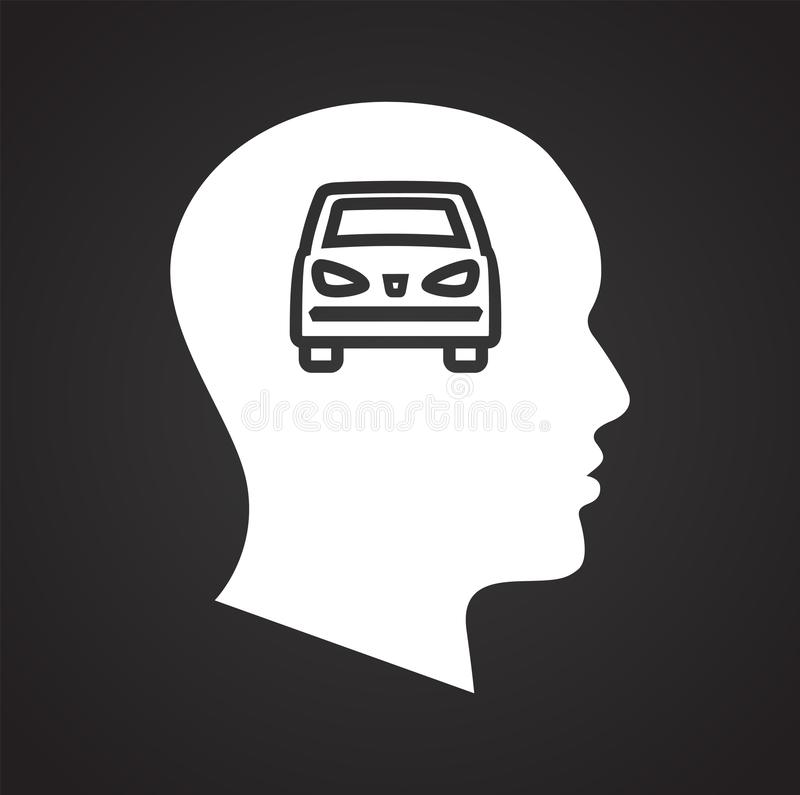Human head with car icon on black background for graphic and web design, Modern simple vector sign. Internet concept. Trendy royalty free illustration